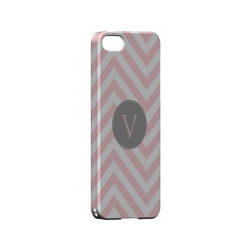 Gray Button V on Pale Pink Zig Zags - Geeks Designer Line Monogram Series Hard Case for Apple iPhone 5/5S