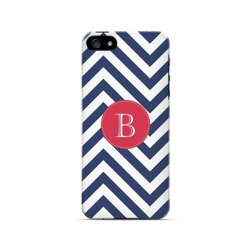 Cherry Button B on Navy Blue Zig Zags - Geeks Designer Line Monogram Series Hard Case for Apple iPhone 5/5S