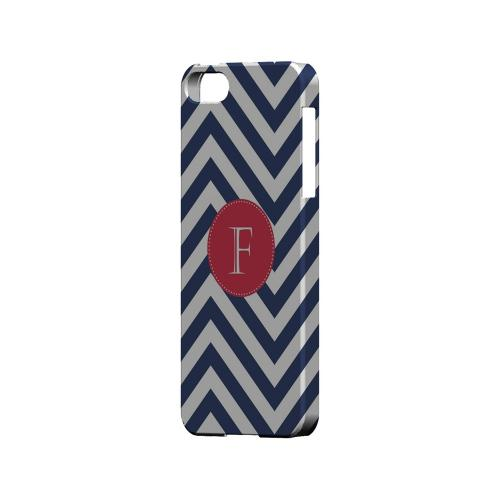 Cherry Button F on Navy Blue Zig Zags - Geeks Designer Line Monogram Series Hard Case for Apple iPhone 5/5S