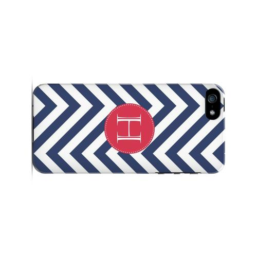 Cherry Button H on Navy Blue Zig Zags - Geeks Designer Line Monogram Series Hard Case for Apple iPhone 5/5S