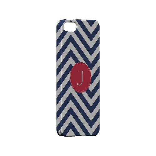 Cherry Button J on Navy Blue Zig Zags - Geeks Designer Line Monogram Series Hard Case for Apple iPhone 5/5S