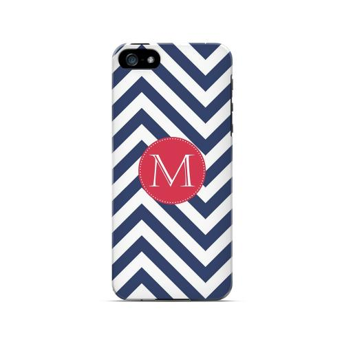 Cherry Button M on Navy Blue Zig Zags - Geeks Designer Line Monogram Series Hard Case for Apple iPhone 5/5S