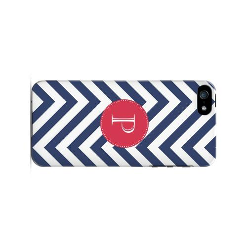 Cherry Button P on Navy Blue Zig Zags - Geeks Designer Line Monogram Series Hard Case for Apple iPhone 5/5S