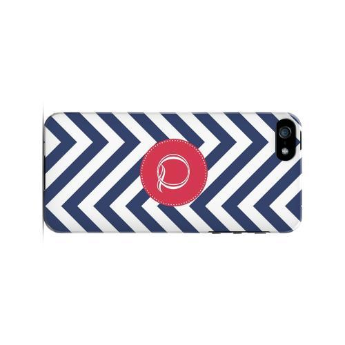 Cherry Button Q on Navy Blue Zig Zags - Geeks Designer Line Monogram Series Hard Case for Apple iPhone 5/5S