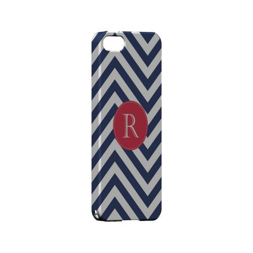 Cherry Button R on Navy Blue Zig Zags - Geeks Designer Line Monogram Series Hard Case for Apple iPhone 5/5S