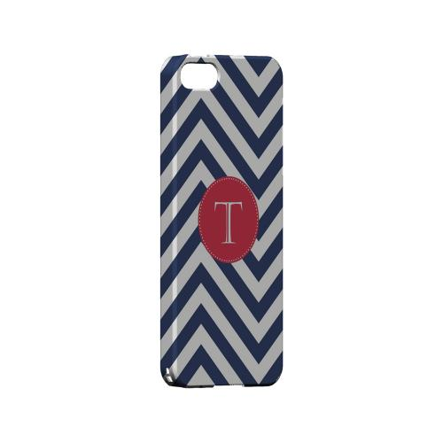 Cherry Button T on Navy Blue Zig Zags - Geeks Designer Line Monogram Series Hard Case for Apple iPhone 5/5S