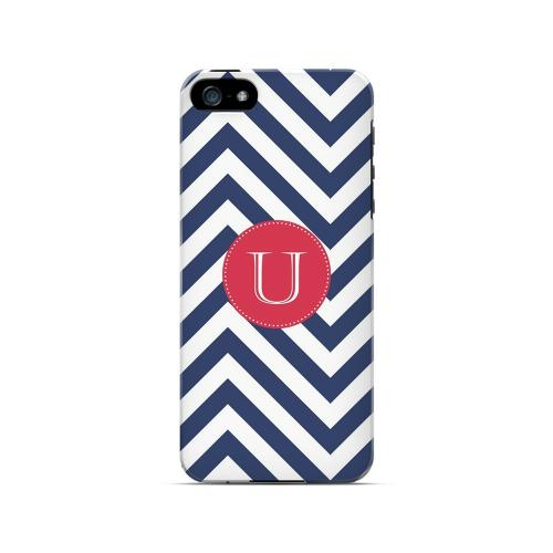 Cherry Button U on Navy Blue Zig Zags - Geeks Designer Line Monogram Series Hard Case for Apple iPhone 5/5S