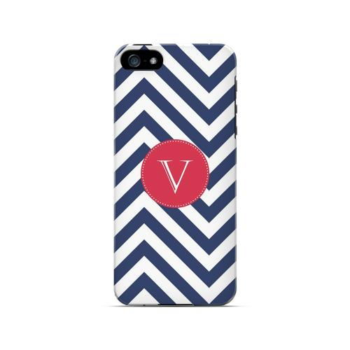 Cherry Button V on Navy Blue Zig Zags - Geeks Designer Line Monogram Series Hard Case for Apple iPhone 5/5S