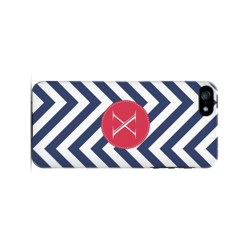 Cherry Button X on Navy Blue Zig Zags - Geeks Designer Line Monogram Series Hard Case for Apple iPhone 5/5S