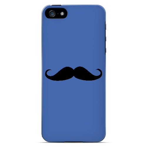 Mustache Blue - Geeks Designer Line Humor Series Hard Case for Apple iPhone 5/5S