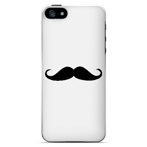 Mustache White - Geeks Designer Line Humor Series Hard Case for Apple iPhone 5/5S
