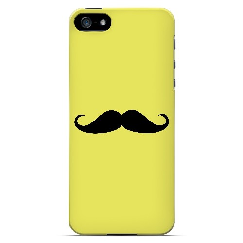 Mustache Yellow - Geeks Designer Line Humor Series Hard Case for Apple iPhone 5/5S