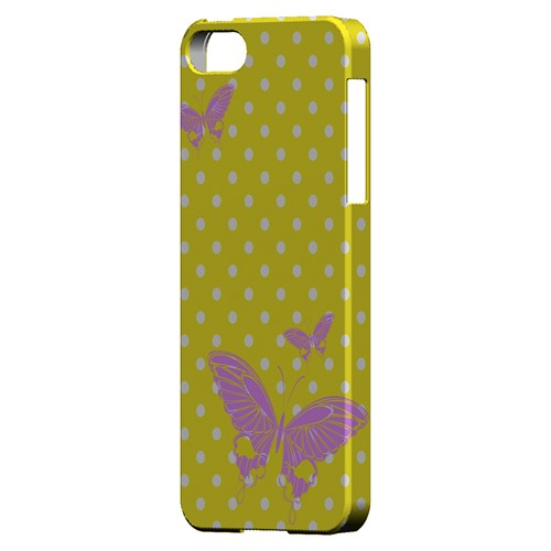 Pink Butterfly on White Polka Dots - Geeks Designer Line Spring Series Hard Case for Apple iPhone 5/5S