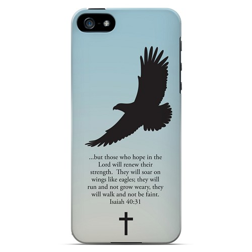Isaiah 40:31 - Faint Blue - Geeks Designer Line Bible Series Hard Case for Apple iPhone 5/5S