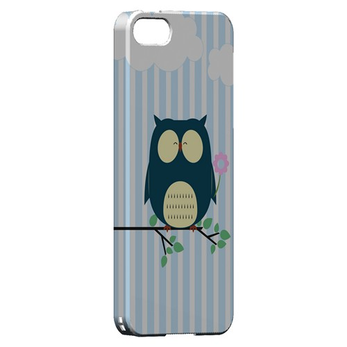 Fat Peaceful Owl on Tree Branch - Geeks Designer Line Owl Series Hard Case for Apple iPhone 5/5S
