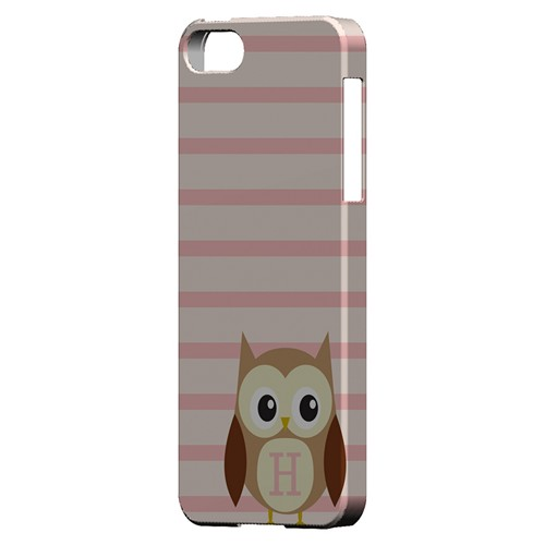 Brown Owl Monogram H on Pink Stripes - Geeks Designer Line Owl Series Hard Case for Apple iPhone 5/5S
