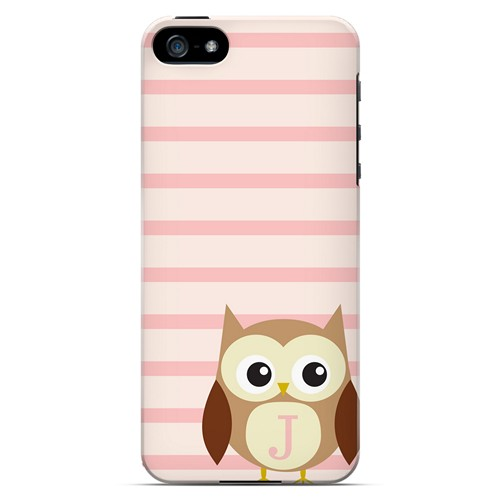 Brown Owl Monogram J on Pink Stripes - Geeks Designer Line Owl Series Hard Case for Apple iPhone 5/5S