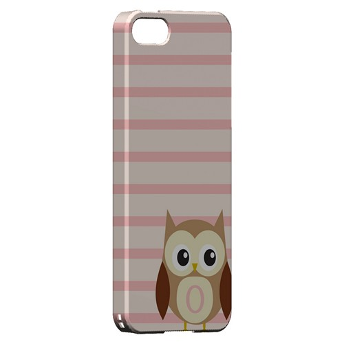 Brown Owl Monogram O on Pink Stripes - Geeks Designer Line Owl Series Hard Case for Apple iPhone 5/5S