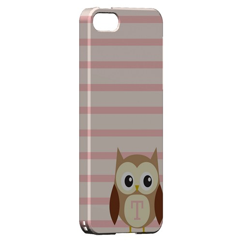 Brown Owl Monogram T on Pink Stripes - Geeks Designer Line Owl Series Hard Case for Apple iPhone 5/5S