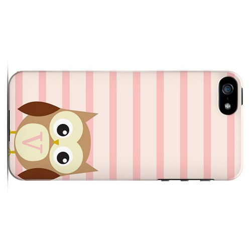 Brown Owl Monogram V on Pink Stripes - Geeks Designer Line Owl Series Hard Case for Apple iPhone 5/5S