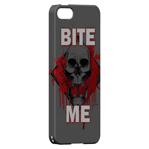 Bite Me on Gray - Geeks Designer Line Apocalyptic Series Hard Case for Apple iPhone 5/5S