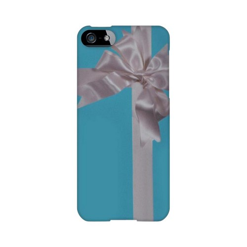 Premium High Impact Resistant Apple iPhone 5/5S Ultra Slim Hard Case - Glossy White Turquoise Gift w/ White Satin Bow