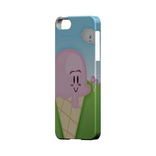Cute Pink Ice Cream Cone Geeks Designer Line Candy Series Slim Hard Back Cover for Apple iPhone 5/5S