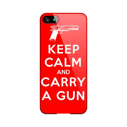 Red Carry A Gun Geeks Designer Line Keep Calm Series Slim Hard Case for Apple iPhone 5/5S