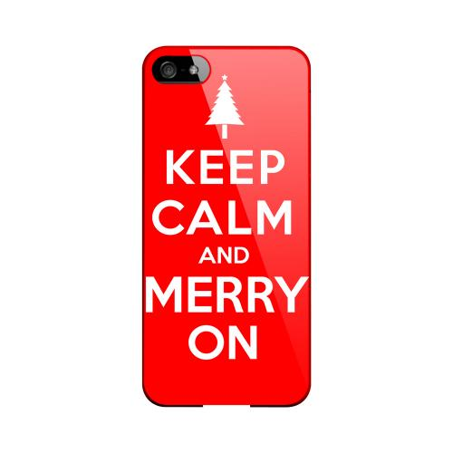 Red Merry On Geeks Designer Line Keep Calm Series Slim Hard Case for Apple iPhone 5/5S
