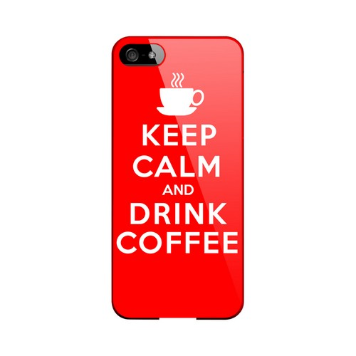 Red Drink Coffee Geeks Designer Line Keep Calm Series Slim Hard Case for Apple iPhone 5/5S