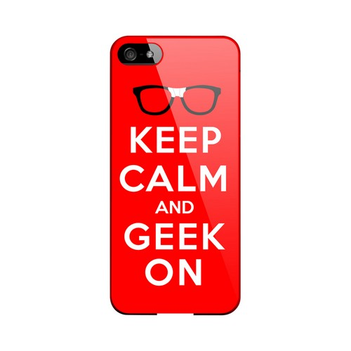 Red Geek On Geeks Designer Line Keep Calm Series Slim Hard Case for Apple iPhone 5/5S