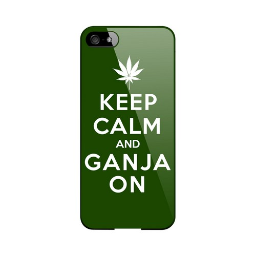Green Ganja On Geeks Designer Line Keep Calm Series Slim Hard Case for Apple iPhone 5/5S