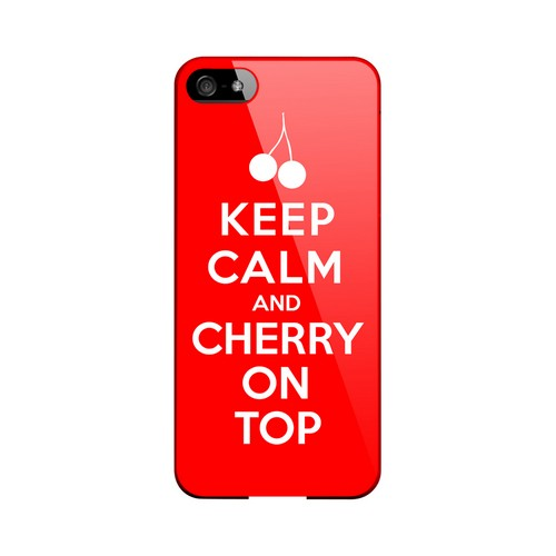 Red Cherry On Top Geeks Designer Line Keep Calm Series Slim Hard Case for Apple iPhone 5/5S