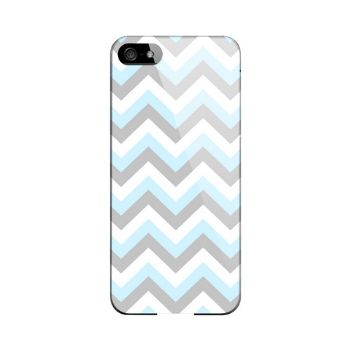 Blue on Gray on White Geeks Designer Line Zig Zag Series Slim Hard Case for Apple iPhone 5/5S