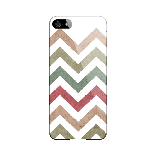 Grungy Green/ Red on White Geeks Designer Line Zig Zag Series Slim Hard Case for Apple iPhone 5/5S