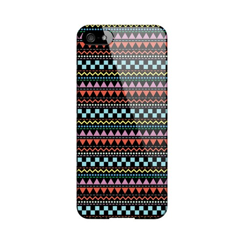 Multi-Shapes & Colors on Black Geeks Designer Line Zig Zag Series Slim Hard Case for Apple iPhone 5/5S