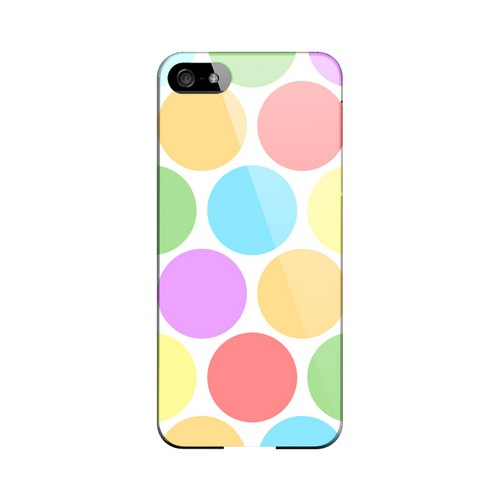 Big & Rainbow on White Geeks Designer Line Polka Dot Series Slim Hard Case for Apple iPhone 5/5S