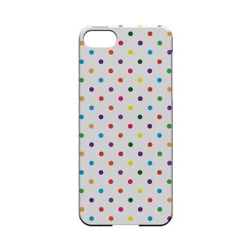 Small & Rainbow on White Geeks Designer Line Polka Dot Series Slim Hard Case for Apple iPhone 5/5S