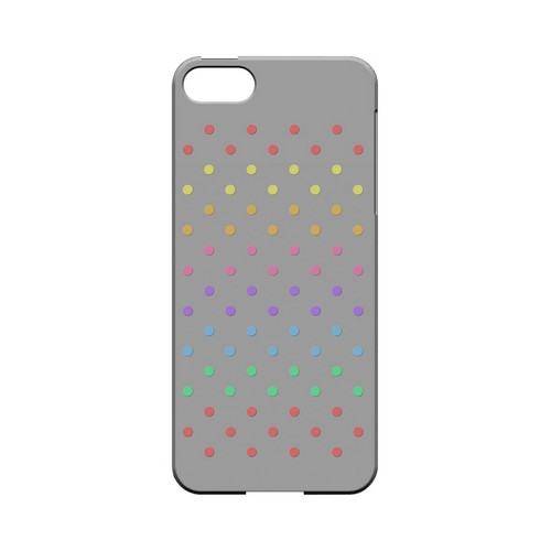 Rainbow Dots on Gray Geeks Designer Line Polka Dot Series Slim Hard Case for Apple iPhone 5/5S