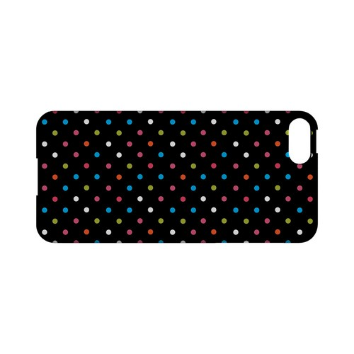 Retro Rainbow Dots on Black Geeks Designer Line Polka Dot Series Slim Hard Case for Apple iPhone 5/5S