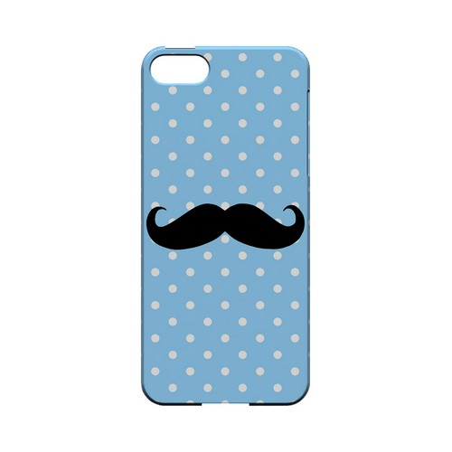 Stache on Sky Blue Geeks Designer Line Polka Dot Series Slim Hard Case for Apple iPhone 5/5S