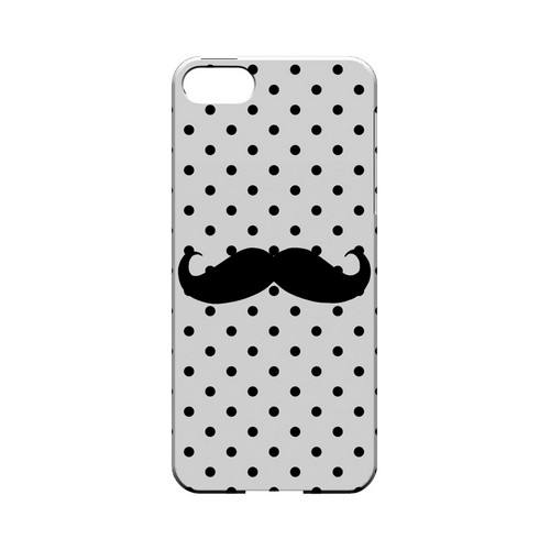 Stache on White Geeks Designer Line Polka Dot Series Slim Hard Case for Apple iPhone 5/5S