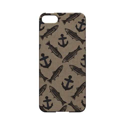 Vintage Salmon/Trout/Anchor Design - Geeks Designer Line (GDL) Fish Series Hard Back Cover for Apple iPhone 5/5S