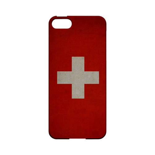 Grunge Switzerland Geeks Designer Line Flag Series Slim Hard Case for Apple iPhone 5/5S