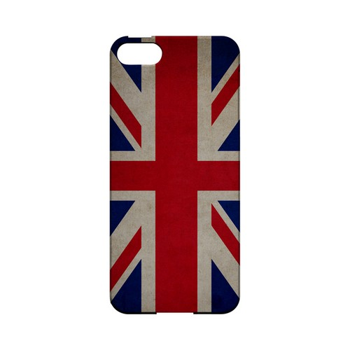 Grunge United Kingdom Geeks Designer Line Flag Series Slim Hard Case for Apple iPhone 5/5S