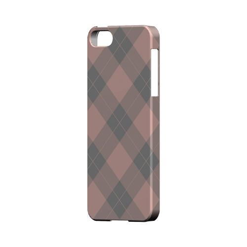 Pink/ Gray Simple Plaid - Geeks Designer Line Checker Series Hard Case for Apple iPhone 5/5S