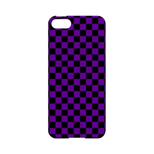 Purple/ Black - Geeks Designer Line Checker Series Hard Case for Apple iPhone 5/5S