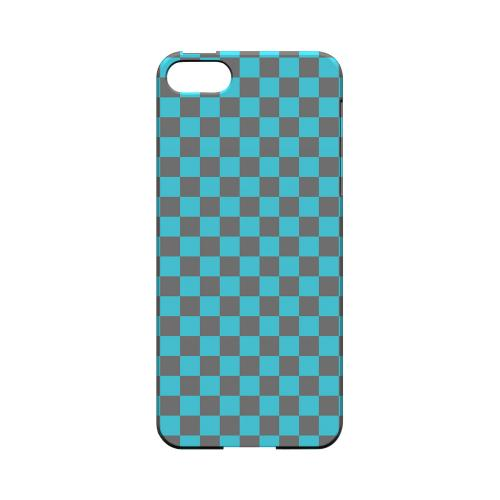 Teal/ Gray - Geeks Designer Line Checker Series Hard Case for Apple iPhone 5/5S