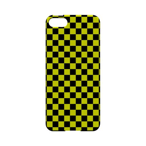 Yellow/ Black - Geeks Designer Line Checker Series Hard Case for Apple iPhone 5/5S