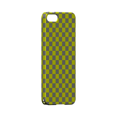 Yellow/ Gray - Geeks Designer Line Checker Series Hard Case for Apple iPhone 5/5S